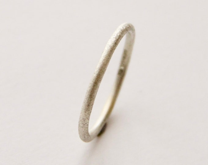 Featured listing image: White Gold Ring - UK size K 1/2 - Frosted Texture - 1.5mm Halo Ring - 9 Carat