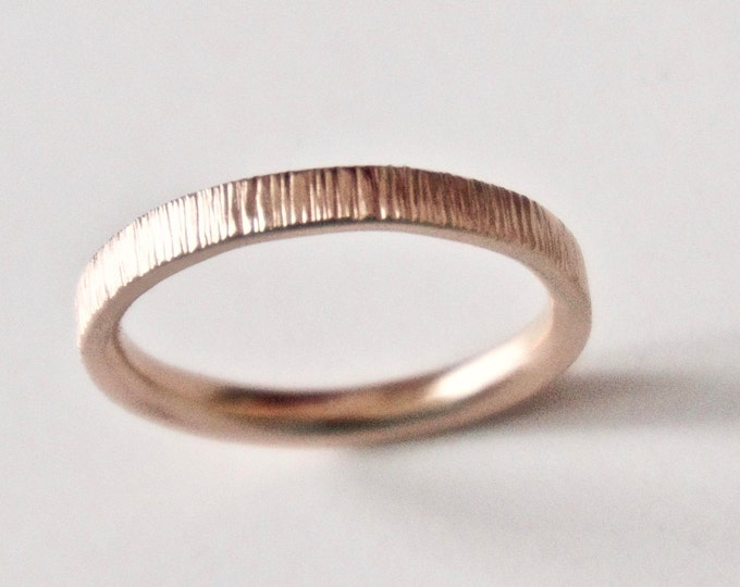Featured listing image: Rose Gold Wedding Band - Tree Bark Ring - Recycled 9 Carat Gold