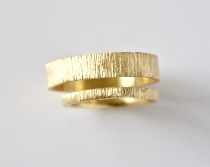 Featured listing image: Wedding Ring Set - Two Tree Bark Bands  - 18 Carat Recycled Gold