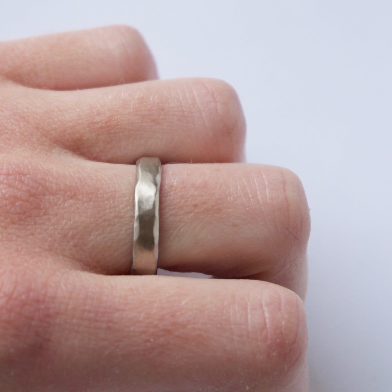 Two Organic White Gold Rings Wedding Ring Set Textured | Etsy
