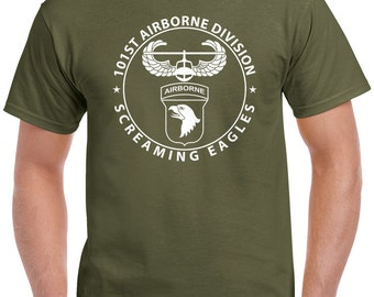 101st Airborne T-Shirt - air assault badge with 101st airborne patch design 1112