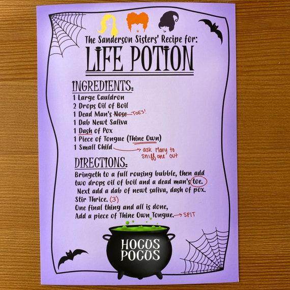 Hocus Pocus Print Life Potion Recipe Card With Free Sticker Etsy