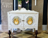 Petite White Sideboard, Chalkpainted Annie Sloan Old White Buffet, Hand painted Hens, Farmhouse, Storage, Small sized