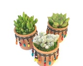 Set of 3 Terracotta Planters with beads and mix of Cactus and Succulents, Succulent Gift, Fiesta Home Decor, Desk Decor, Housewarming Gift