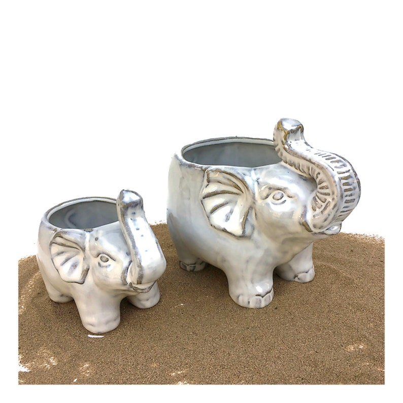 Elephant Planter-Ceramic Glazed Pot-Elephant Pot-Succulent image 0