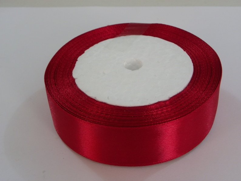 Dark Red Satin Ribbon 25 yards 25mm Silk Satin Red Ribbons solid color Wholesale ribbon about 23 Meters Ribbon Christmas Party Gift Wrapping