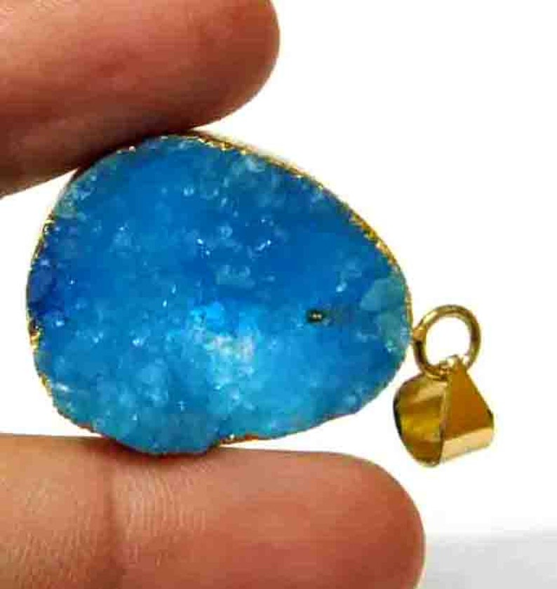 Charm Pendant L.P.385 Gold Color Brass Jewelry Natural Sky Blue Druzy Agate Pendant Gold Electroplated Edge Pendant Single Loop Pendant