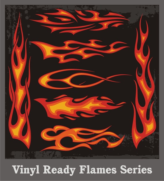A Set Of Vinyl Ready Flames Vector Clipart Vehicle Graphics Etsy
