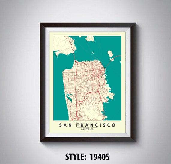 Map of San Francisco, CA - San Francisco Map - San Francisco Poster San Go Map on mco map, western europe map, northern europe map, central europe map, osi map, mu map, ca map,