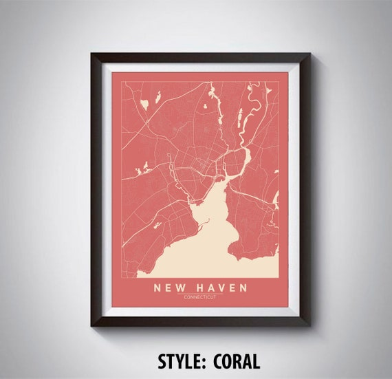 Map of New Haven CT New Haven Map New Haven Poster | Etsy