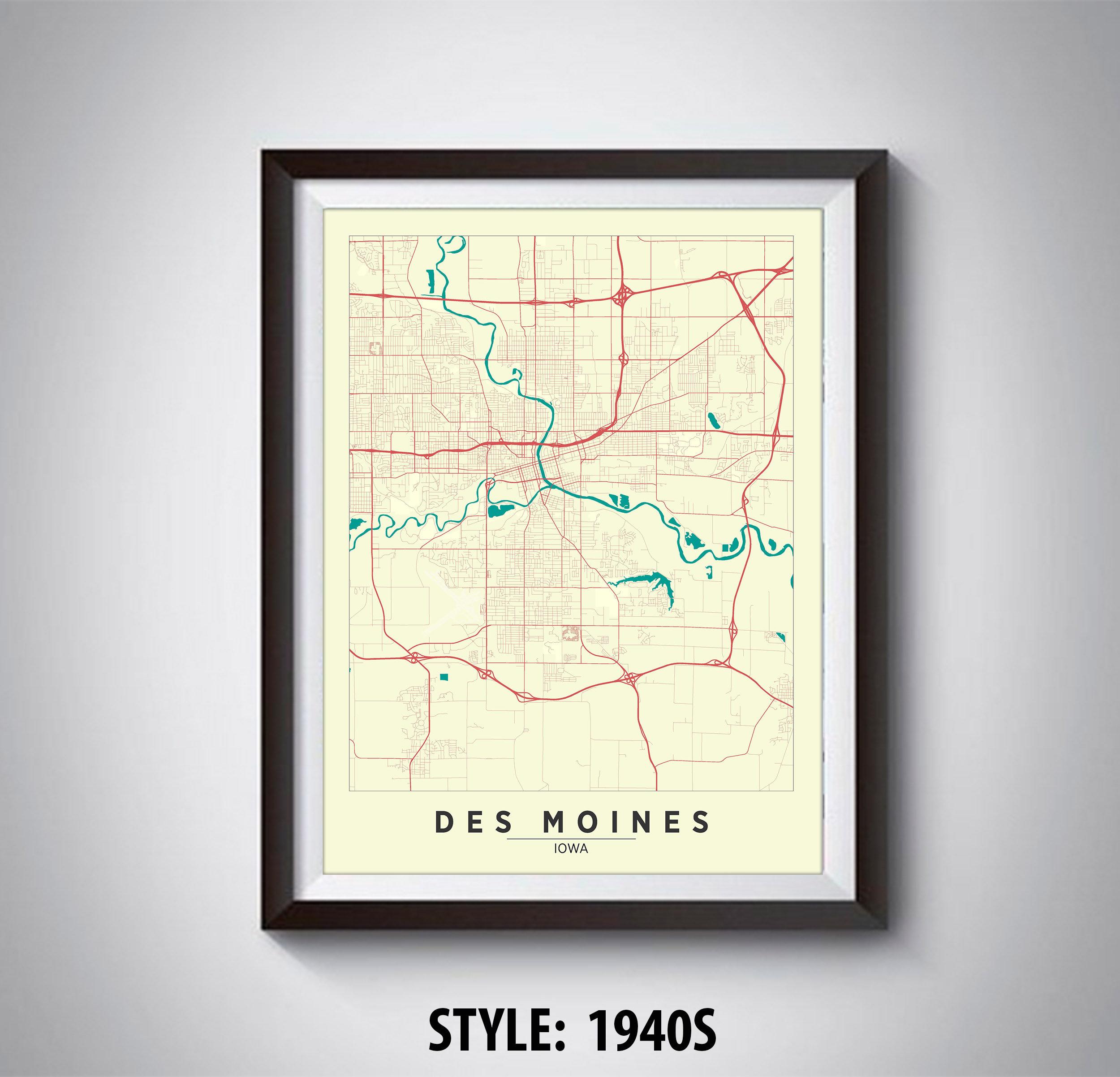 Map of Des Moines IA Des Moines Map Des Moines Poster | Etsy