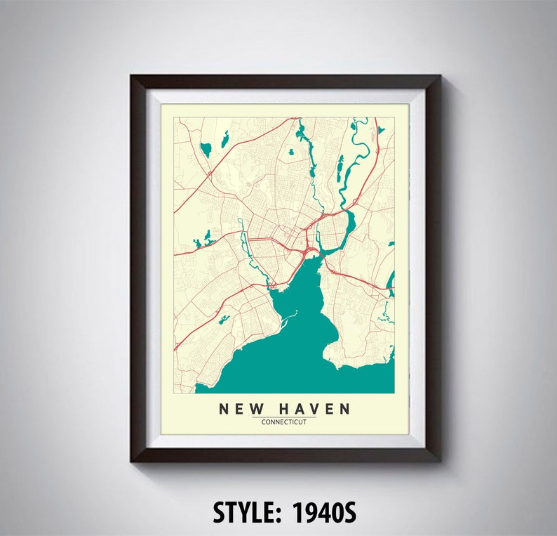 Map of New Haven CT New Haven Map New Haven Poster   Etsy