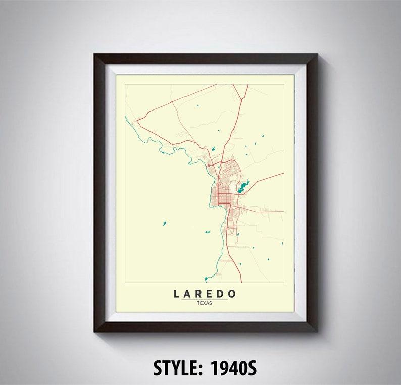 Map Of Texas Laredo.Map Of Laredo Tx Laredo Map Laredo Poster Office Decor Wall Art Travel Map Laredo Travel Map