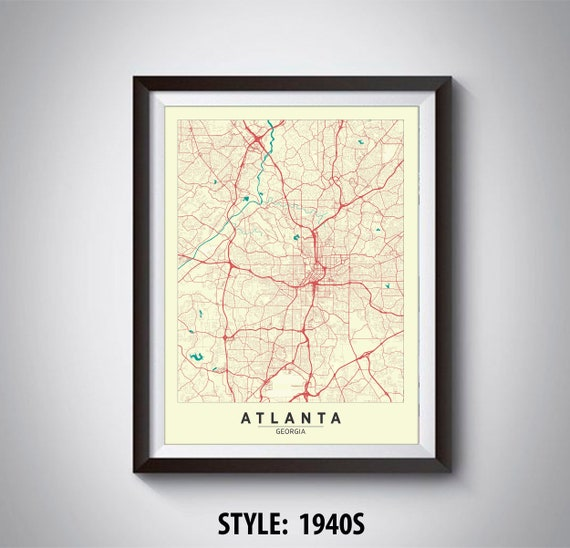 Map of Atlanta, GA - Atlanta Map - Atlanta Poster - Office Décor - Map Atlanta Ga Area on atlanta area zone map, arlington tx area map, raleigh durham nc area map, atlanta street maps of areas, castle rock co area map, melbourne fl area map, leesburg fl area map, atlanta area zip code map, goose creek sc area map, st. george ut area map, phoenix ar area map, missoula mt area map, providence ri area map, atlanta ga projects, beaumont tx area map, berkeley ca area map, atlanta savannah map, ft worth tx area map, bellingham wa area map, aberdeen sd area map,