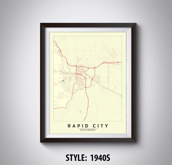 Map Of Rapid City Sd Rapid City Map Rapid City Poster Etsy