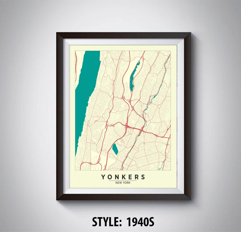 Map of Yonkers NY Yonkers Map Yonkers Poster Office | Etsy Map Of Yonkers Ny on