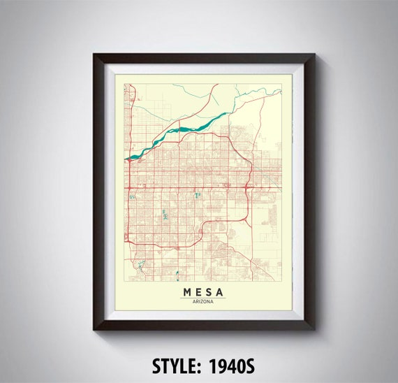 Map of Mesa, AZ - Mesa Map - Mesa Poster - Office Décor - Wall Art - Travel  Map - Mesa Travel Map