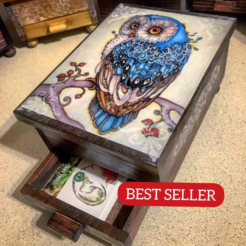 PERSONALIZED Majestic Owl Jewelry Box with Mirror & Drawer  image 0