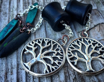 """Magnetic Ebony Wooden Tunnels w/ Tree of Life Dangles/Sizes 0g(8mm)-1""""(26mm) Wood Ear Gages and Tunnels/ Silver/ Bronze/ Organic /Eyelets"""