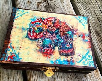 Handcrafted Vintage Elephant Jewelry Box-Stash Box /Jewelry Organizer trinket Storage/ Christmas gift/ Birthday/ Wedding