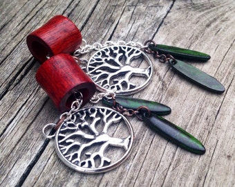 """Magnetic BloodwoodTunnels with Tree of Life Dangles Sizes 00g(10mm)&7/16""""(11mm)Wood Ear Gages/ Ear Tunnels/Stretchers/Tribal/Hippie/Organic"""