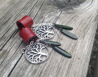 Magnetic Tunnels with Tree of Life Dangles-Size 0g(8mm)Wood Ear Gages and Tunnels/Wood Plug Gauges/Tribal/Hippie/Organic/Eyelets/Bronze/Lobe