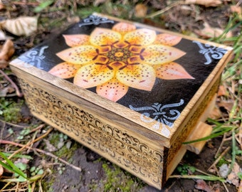 PERSONALIZED Blooming Lotus Flower Jewelry Box w/ Mirror & Drawer -Jewelry Organizer/ Small trinket Storage/Gift/Birthday/Wedding/ Christmas