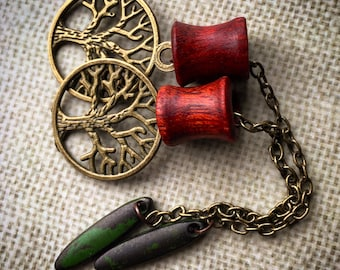 """Magnetic Bloodwood Tunnels w/ Tree of Life Dangles-Sizes 2g(6mm)-1 1/2""""(38mm)/Bronze/Silver/Organic/Hippie/Wedding/Eyelets/Gauges/Plugs"""