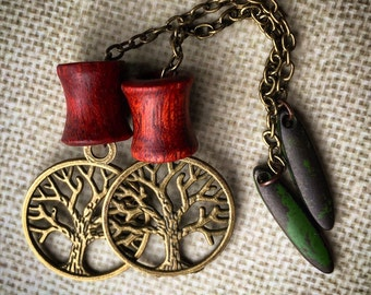Magnetic Bloodwood Tunnels with Tree of Life Dangles-Size 2g(6mm) 0g(8mm)Wood Ear Gages &Tunnels/Stretchers/Wood Plug Gauges/Eyelets/Organic