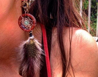 """Magnetic Bloodwood Tunnels with Dream-Catcher Dangle Chains/Sizes1/2""""(13mm)&9/16""""(14mm)Wooden Gauges/Formal Plugs/Wedding/Tribal/Hippie"""