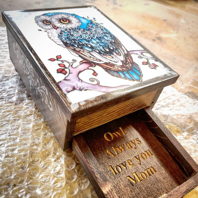 PERSONALIZED Majestic Owl Jewelry Box with Mirror & Drawer  image 1