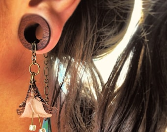 """Magnetic Bloodwood Tunnels with Lily Dangles-Sizes5/8""""(16mm)&11/16""""(17.5mm)/Expanders/Wood Gauges/ Stretchers/Tunel/Gif/Dangle Plugs/Organic"""