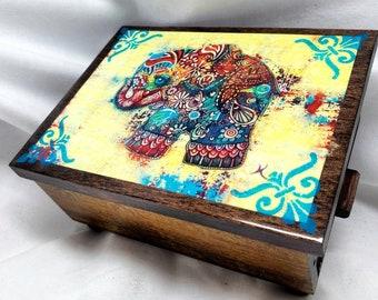 PERSONALIZED Bohemian Elephant Jewelry Box w/ Mirror & Drawer-Jewelry Organizer Small trinket Storage/ Gift / Birthday/ CHRISTMAS/ Wedding