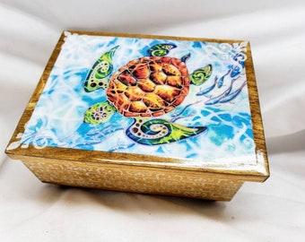 PERSONALIZED Sea Turtle Jewelry Box with Mirror & Drawer- Jewelry Organizer Small trinket Storage/ Christmas Gift / Birthday/ Wedding