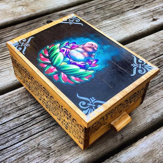 Stash Box Jewelry Organizer Small trinket Storage Gift  Birthday Anniversary Wedding PERSONALIZED Beautiful Buddha Jewelry Box