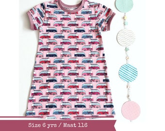 Last one: Girls a-line dress with short sleeves. Size 6