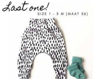 White baby harem pants with black dots. Size 1 - 3 months
