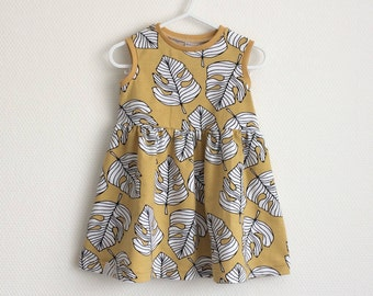 Girls summer dress. Sleeveless dress. Organic cotton jersey fabric with leaves. Toddler dress. Yellow dress with monstera