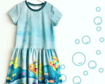 Blue dress with colourful fish