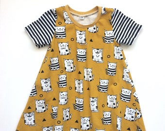 Yellow t-shirt dress with cats