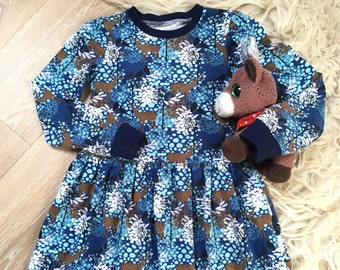 Blue dress with deer. Skater dress