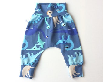 Blue baby harem pants with dinosaurs