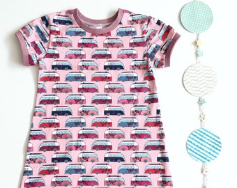 Girls a-line dress retro cars