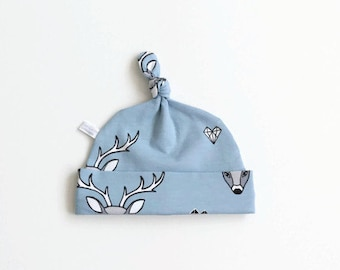 Light blue baby hat with deer