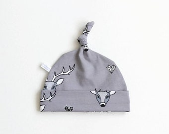 Gray hat with stags