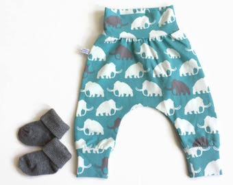 Baby harem pants with mammoths in gray and white