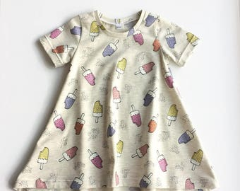 Girl's t-shirt dress with ice creams