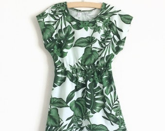 Off-white dress with tropical leaves