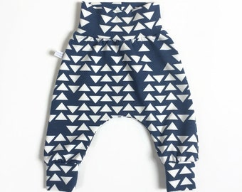 Blue harem pants with white triangles