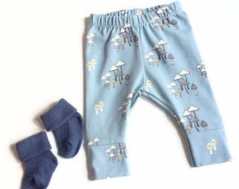 Blue baby leggings with mushrooms